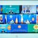 Para menteri luar negeri dan perwakilan dari Perhimpunan Bangsa-Bangsa Asia Tenggara (ASEAN), termasuk dari Myanmar, tampak di layar dalam pertemuan virtual ASEAN pada Selasa, 2 Maret 2021.