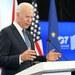 Presiden Amerika Serikat Joe Biden memberikan keterangan saat jumpa pers di Bandar Udara Newquay di Cornwall, Inggris setelah menghadiri pertemuan puncak G7 pada 13 Juni 2021.